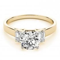 Trio Emerald Cut Diamond Engagement Ring 18k Yellow Gold (0.30ct)