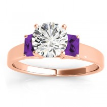 Trio Emerald Cut Amethyst Engagement Ring 14k Rose Gold (0.30ct)
