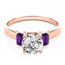 Trio Emerald Cut Amethyst Engagement Ring 14k Rose Gold (0.30ct)