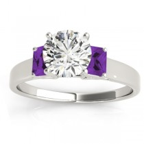 Three-Stone Emerald Cut Amethyst & Diamond Engagement Ring Setting 14k White Gold (0.30ct)