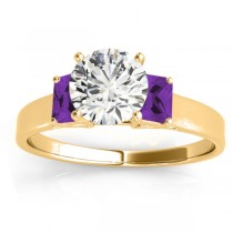 Three-Stone Emerald Cut Amethyst & Diamond Engagement Ring Setting 18k Yellow Gold (0.30ct)