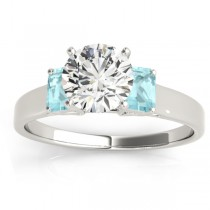 Three-Stone Emerald Cut Aquamarine & Diamond Engagement Ring Setting 14k White Gold (0.30ct)