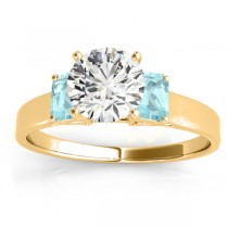 Three-Stone Emerald Cut Aquamarine & Diamond Engagement Ring Setting 14k Yellow Gold (0.30ct)