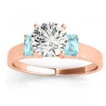 Three-Stone Emerald Cut Aquamarine & Diamond Engagement Ring Setting 18k Rose Gold (0.30ct)