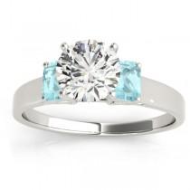 Three-Stone Emerald Cut Aquamarine & Diamond Engagement Ring Setting 18k White Gold (0.30ct)