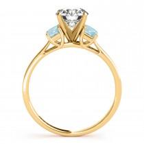 Trio Emerald Cut Aquamarine Engagement Ring 18k Yellow Gold (0.30ct)