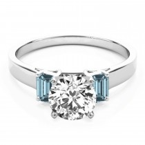 Trio Emerald Cut Aquamarine Engagement Ring Palladium (0.30ct)