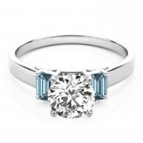 Trio Emerald Cut Aquamarine Engagement Ring Platinum (0.30ct)