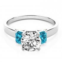 Trio Emerald Cut Blue Diamond Engagement Ring 14k White Gold (0.30ct)