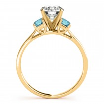Trio Emerald Cut Blue Diamond Engagement Ring 14k Yellow Gold (0.30ct)