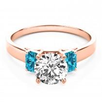 Trio Emerald Cut Blue Diamond Engagement Ring 18k Rose Gold (0.30ct)