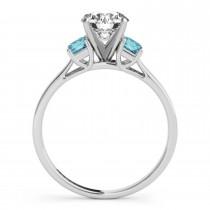 Trio Emerald Cut Blue Diamond Engagement Ring 18k White Gold (0.30ct)