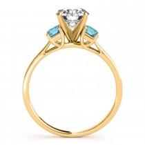 Trio Emerald Cut Blue Diamond Engagement Ring 18k Yellow Gold (0.30ct)
