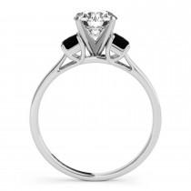 Trio Emerald Cut Black Diamond Engagement Ring 14k White Gold (0.30ct)