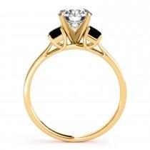 Trio Emerald Cut Black Diamond Engagement Ring 14k Yellow Gold (0.30ct)