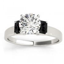Three-Stone Emerald Cut Black Diamond & Diamond Engagement Ring Setting 18k White Gold (0.30ct)