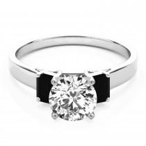 Trio Emerald Cut Black Diamond Engagement Ring 18k White Gold (0.30ct)