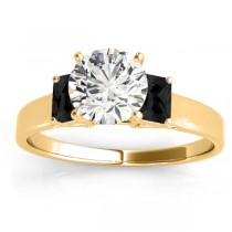 Three-Stone Emerald Cut Black Diamond & Diamond Engagement Ring Setting 18k Yellow Gold (0.30ct)