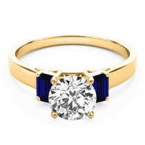 Trio Emerald Cut Blue Sapphire Engagement Ring 14k Yellow Gold (0.30ct)