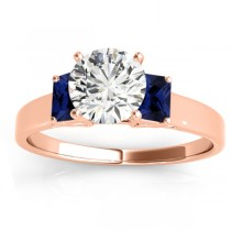 Three-Stone Emerald Cut Blue Sapphire & Diamond Engagement Ring Setting 18k Rose Gold (0.30ct)