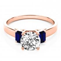 Trio Emerald Cut Blue Sapphire Engagement Ring 18k Rose Gold (0.30ct)