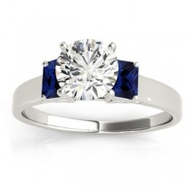Three-Stone Emerald Cut Blue Sapphire & Diamond Engagement Ring Setting 18k White Gold (0.30ct)