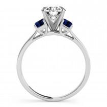 Trio Emerald Cut Blue Sapphire Engagement Ring 18k White Gold (0.30ct)