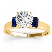 Three-Stone Emerald Cut Blue Sapphire & Diamond Engagement Ring Setting 18k Yellow Gold (0.30ct)