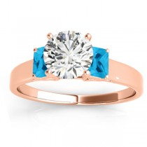 Three-Stone Emerald Cut Blue Topaz & Diamond Engagement Ring Setting 14k Rose Gold (0.30ct)