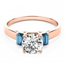Trio Emerald Cut Blue Topaz Engagement Ring 14k Rose Gold (0.30ct)