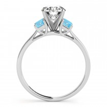 Three-Stone Emerald Cut Blue Topaz & Diamond Engagement Ring Setting 14k White Gold (0.30ct)