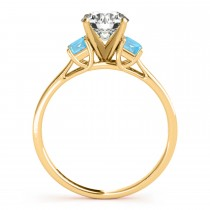 Trio Emerald Cut Blue Topaz Engagement Ring 14k Yellow Gold (0.30ct)