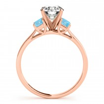 Trio Emerald Cut Blue Topaz Engagement Ring 18k Rose Gold (0.30ct)