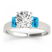 Three-Stone Emerald Cut Blue Topaz & Diamond Engagement Ring Setting 18k White Gold (0.30ct)