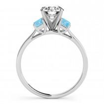 Trio Emerald Cut Blue Topaz Engagement Ring Palladium (0.30ct)