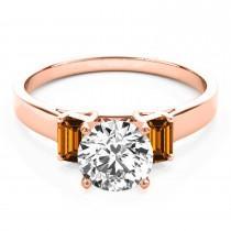 Trio Emerald Cut Citrine Engagement Ring 14k Rose Gold (0.30ct)