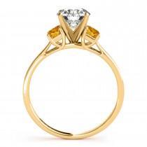Trio Emerald Cut Citrine Engagement Ring 14k Yellow Gold (0.30ct)