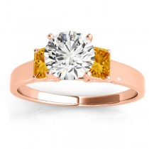 Three-Stone Emerald Cut Citrine & Diamond Engagement Ring Setting 18k Rose Gold (0.30ct)