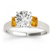 Three-Stone Emerald Cut Citrine & Diamond Engagement Ring Setting 18k White Gold (0.30ct)