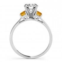 Trio Emerald Cut Citrine Engagement Ring 18k White Gold (0.30ct)
