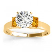 Three-Stone Emerald Cut Citrine & Diamond Engagement Ring Setting 18k Yellow Gold (0.30ct)