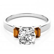 Trio Emerald Cut Citrine Engagement Ring Palladium (0.30ct)