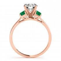 Trio Emerald Cut Trio Emerald Engagement Ring 14k Rose Gold (0.30ct)