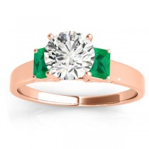 Trio Emerald Cut Trio Emerald Engagement Ring 18k Rose Gold (0.30ct)