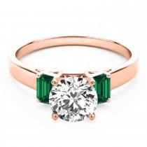 Trio Emerald Cut Trio Emerald Engagement Ring 18k Rose Gold (0.30ct)