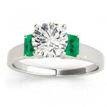 Trio Emerald Cut Trio Emerald Engagement Ring 18k White Gold (0.30ct)