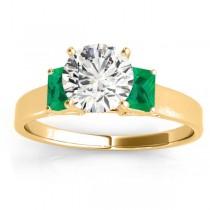 Three-Stone Emerald Cut Three-Stone Emerald & Diamond Engagement Ring Setting 18k Yellow Gold (0.30ct)