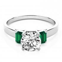 Trio Emerald Cut Trio Emerald Engagement Ring Palladium (0.30ct)