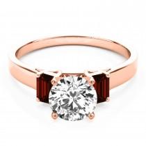 Trio Emerald Cut Garnet Engagement Ring 14k Rose Gold (0.30ct)