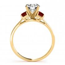 Trio Emerald Cut Garnet Engagement Ring 14k Yellow Gold (0.30ct)